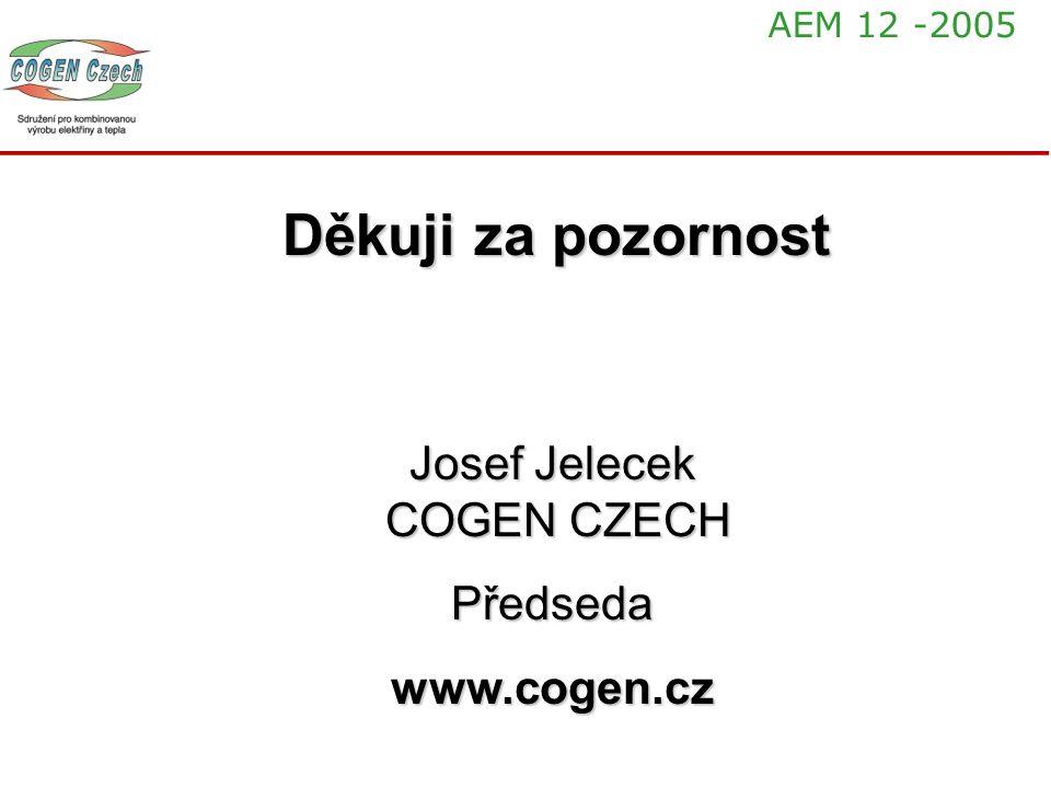 Děkuji za pozornost Josef Jelecek COGEN CZECH Předsedawww.cogen.cz AEM 12 -2005