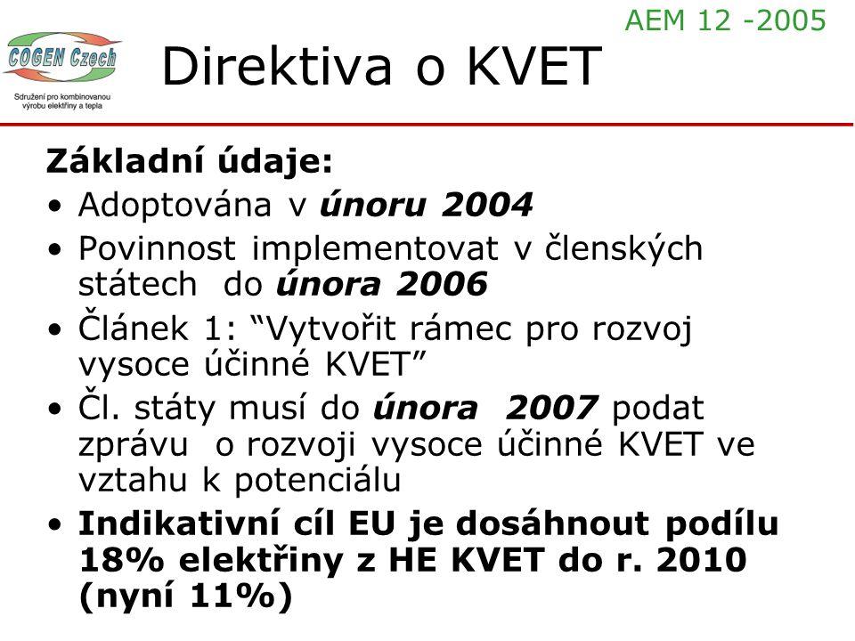 """Direktiva o KVET Základní údaje: Adoptována v únoru 2004 Povinnost implementovat v členských státech do února 2006 Článek 1: """"Vytvořit rámec pro rozvo"""