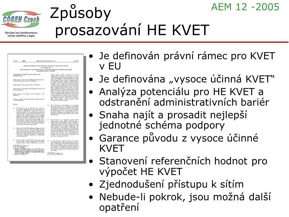 """Způsoby prosazování HE KVET Je definován právní rámec pro KVET v EU Je definována """"vysoce účinná KVET"""" Analýza potenciálu pro HE KVET a odstranění adm"""