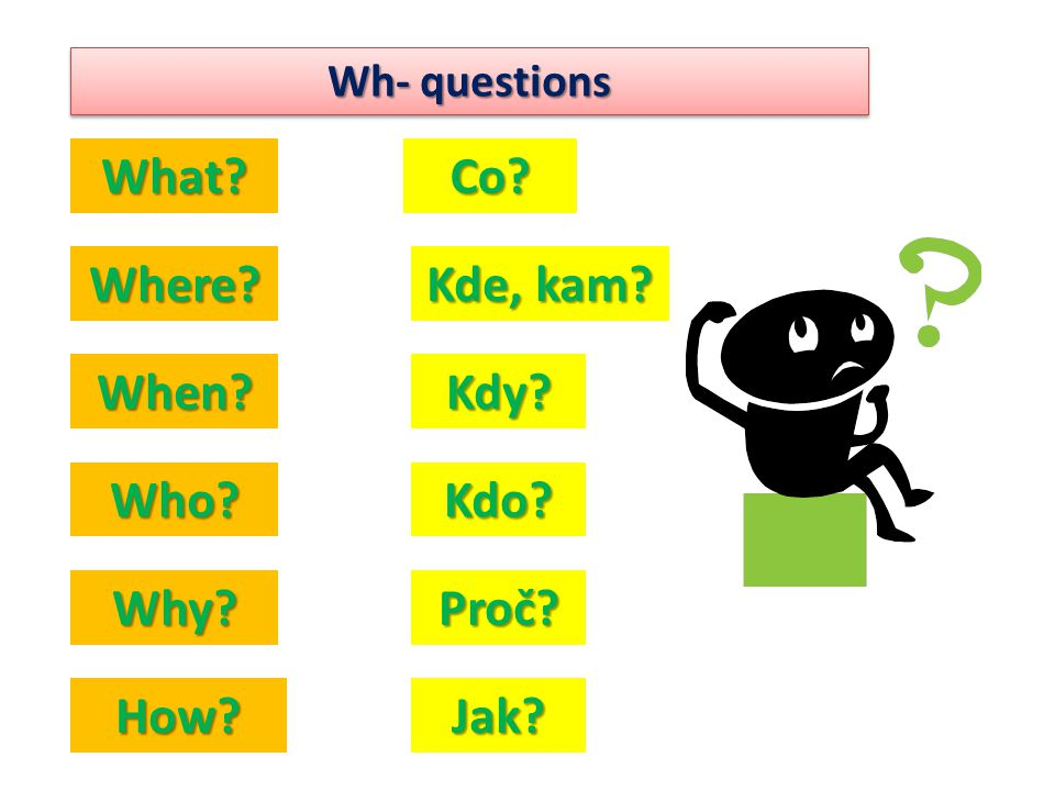 Wh- questions What? Where? When? Who? Why? How? Co? Kde, kam? Kdy? Kdo? Proč? Jak?