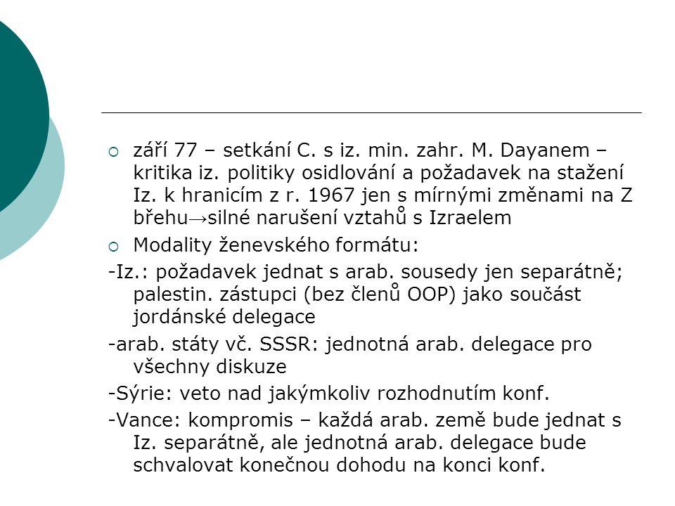  září 77 – setkání C. s iz. min. zahr. M. Dayanem – kritika iz.