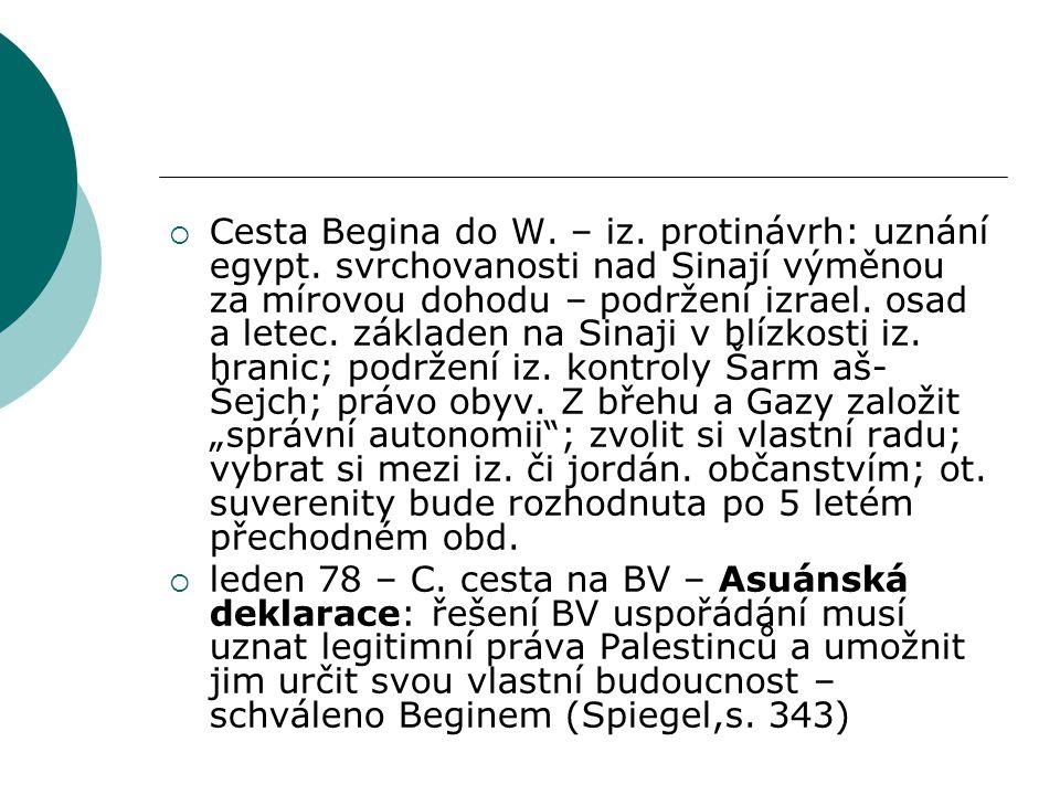  Cesta Begina do W. – iz. protinávrh: uznání egypt.