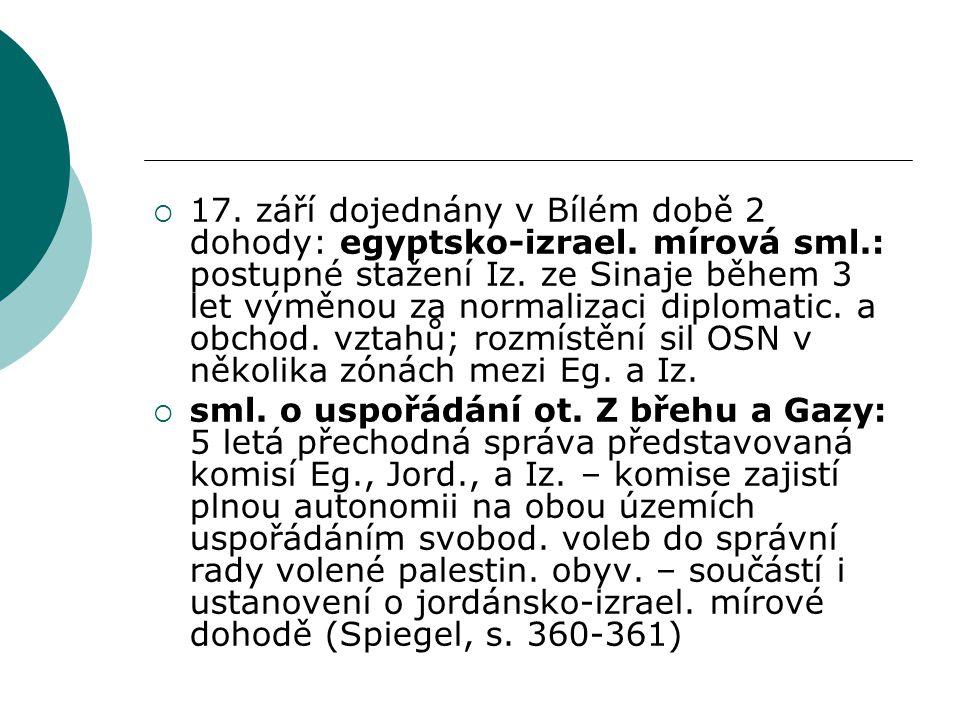  17. září dojednány v Bílém době 2 dohody: egyptsko-izrael.
