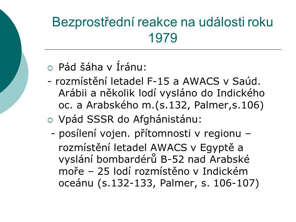 Bezprostřední reakce na události roku 1979  Pád šáha v Íránu: - rozmístění letadel F-15 a AWACS v Saúd.