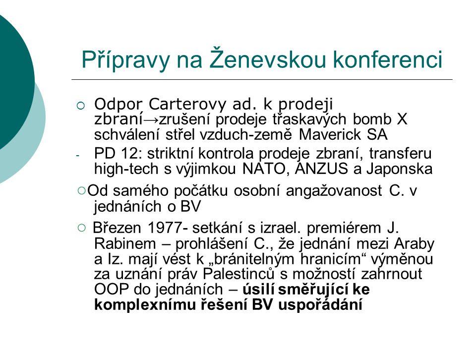  Další pat v jednáních o podepsání dohod po oznámení Izraele pokračovat ve výstavbě nových osad na Západním břehu (Kaufman, s.113)  Carterova intervence – Egypt ustoupil z pozic ohledně Palestinců – závazek Izraele stáhnout se co nejdříve ze Sinaje (Kaufman, s.114)  26.