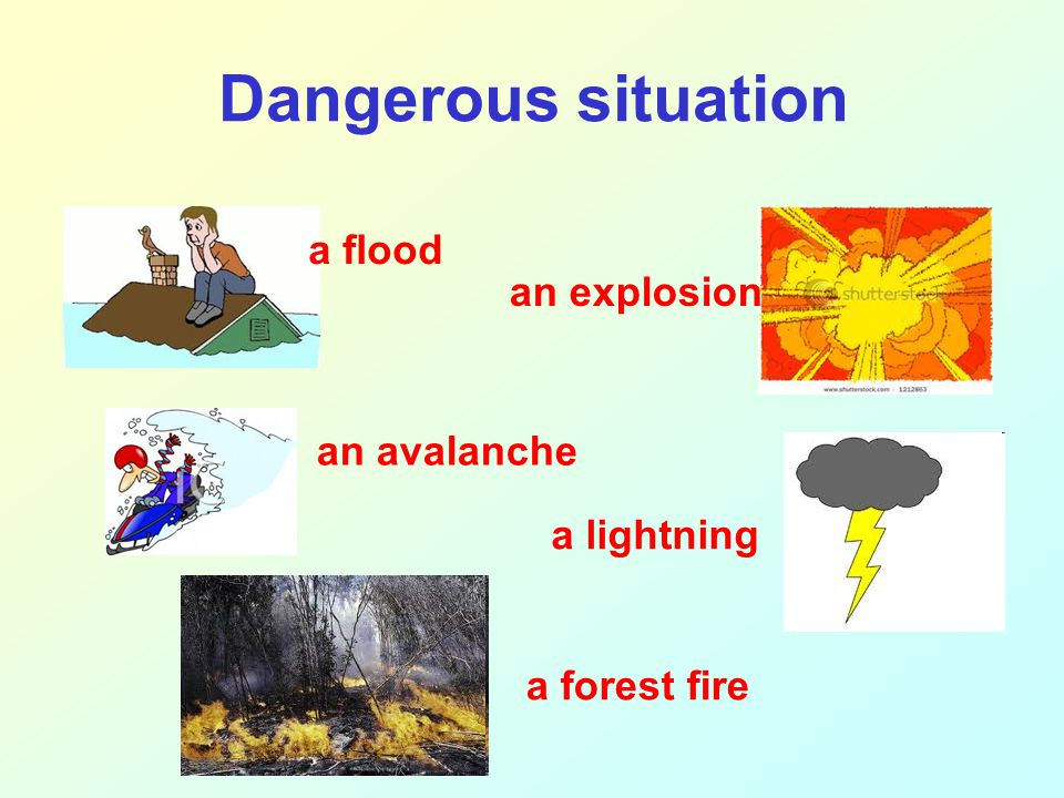 Dangerous situation a flood an avalanche an explosion a lightning a forest fire