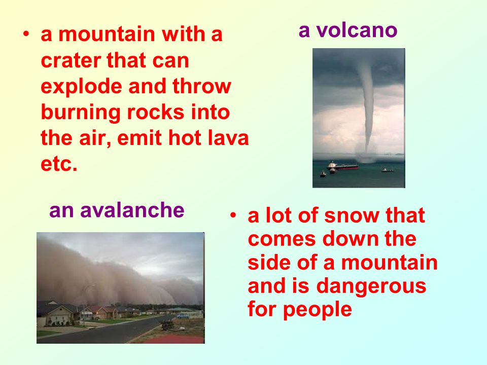 a mountain with a crater that can explode and throw burning rocks into the air, emit hot lava etc.