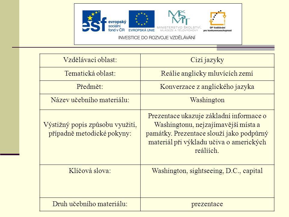 Vzdělávací oblast:Cizí jazyky Tematická oblast:Reálie anglicky mluvících zemí Předmět:Konverzace z anglického jazyka Název učebního materiálu:Washingt