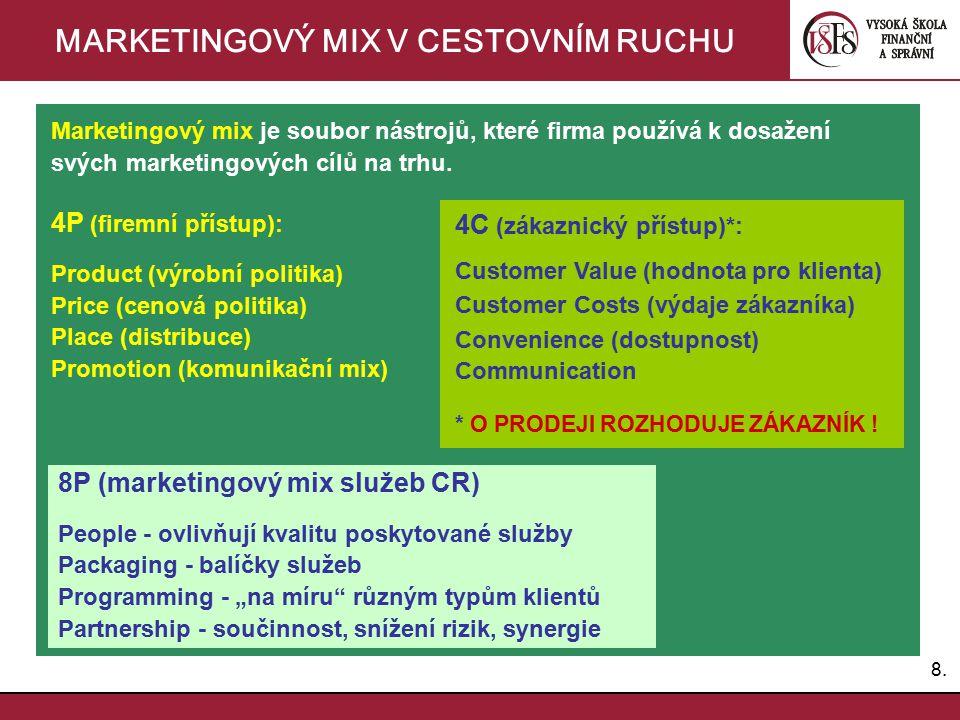 8.8. MARKETINGOVÝ MIX V CESTOVNÍM RUCHU Marketingový mix je soubor nástrojů, které firma používá k dosažení svých marketingových cílů na trhu. 4P (fir