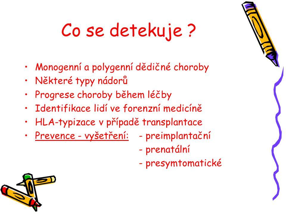 Co se detekuje ? Monogenní a polygenní dědičné choroby Některé typy nádorů Progrese choroby během léčby Identifikace lidí ve forenzní medicíně HLA-typ