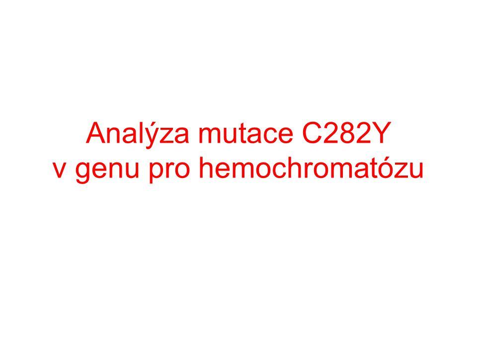 Kontrolní gen – kontrola průběhu PCR CFTR gen – obecný primer + primer specifický k sekvenci bez mutace kontrolní gen – kontrola průběhu PCR CFTR gen – obecný primer + primer specifický k sekvenci s mutací NK DNA marker Pacient 1 2 3 + + + + - + PCR Mix 0 PCR Mix 1 Analýza PCR produktu