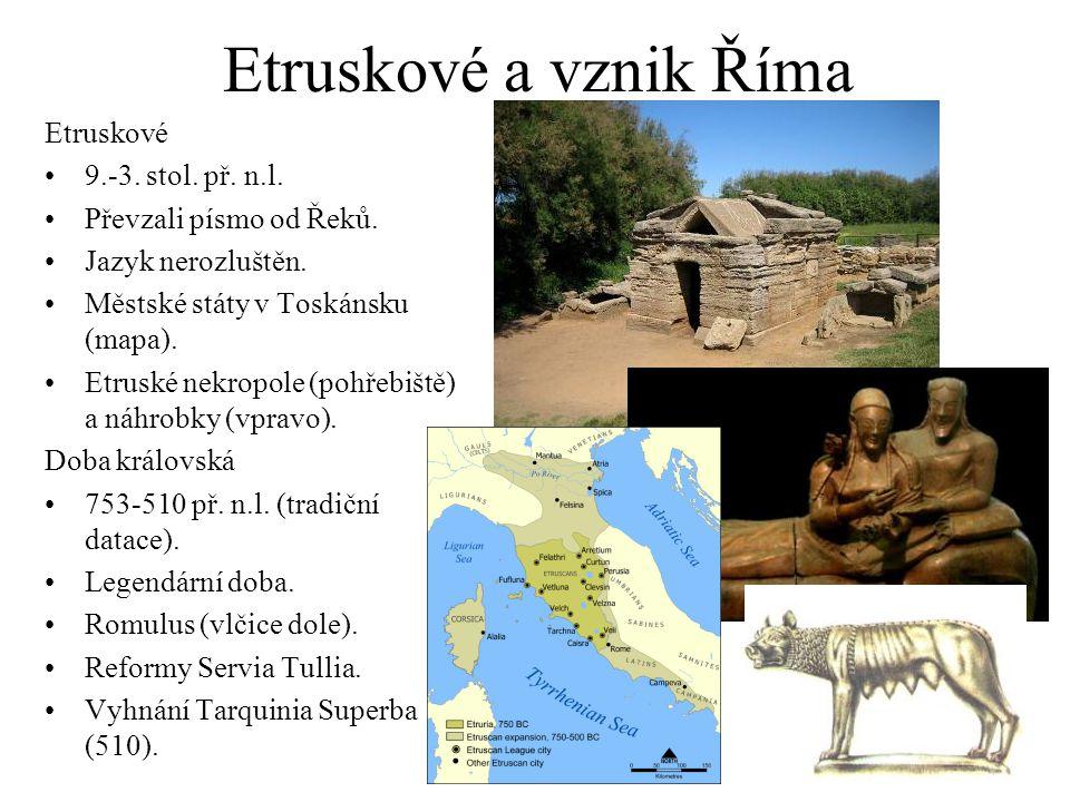 Etruskové a vznik Říma Etruskové 9.-3. stol. př. n.l. Převzali písmo od Řeků. Jazyk nerozluštěn. Městské státy v Toskánsku (mapa). Etruské nekropole (