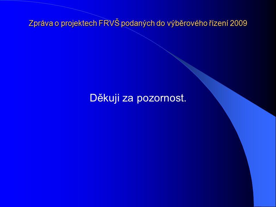 Zpráva o projektech FRVŠ podaných do výběrového řízení 2009 Děkuji za pozornost.
