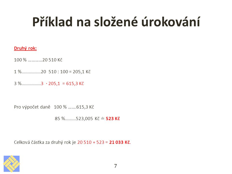 Příklad na složené úrokování 7