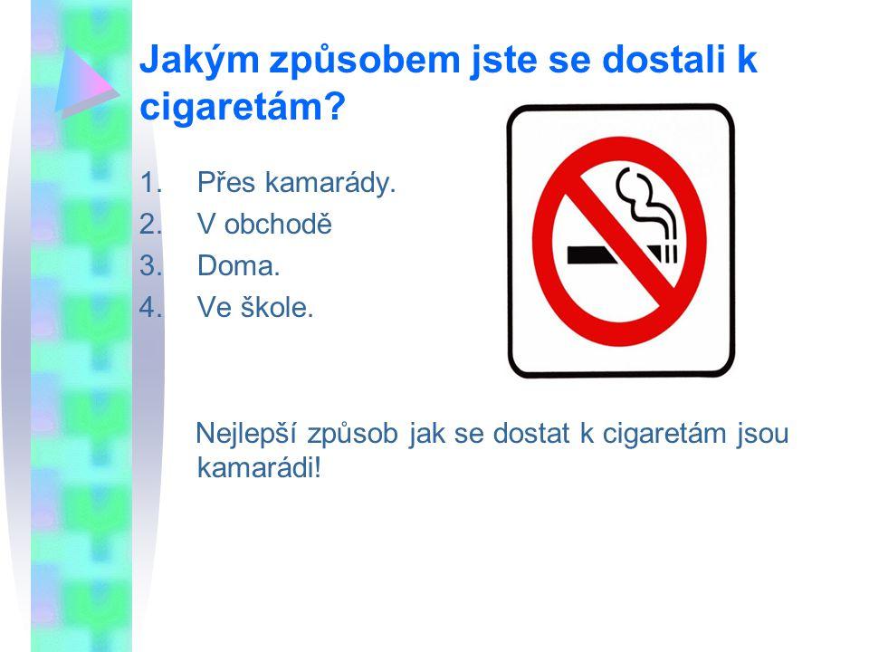 Jakým způsobem jste se dostali k cigaretám. 1.Přes kamarády.
