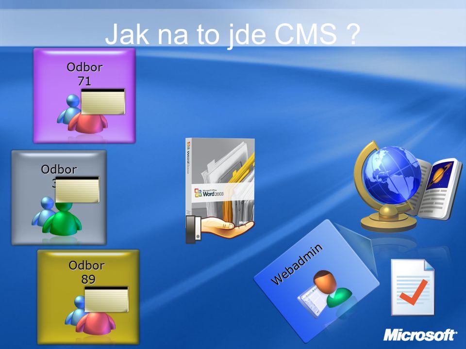 Jak na to jde CMS Odbor71 Odbor36 Odbor89 Webadmin