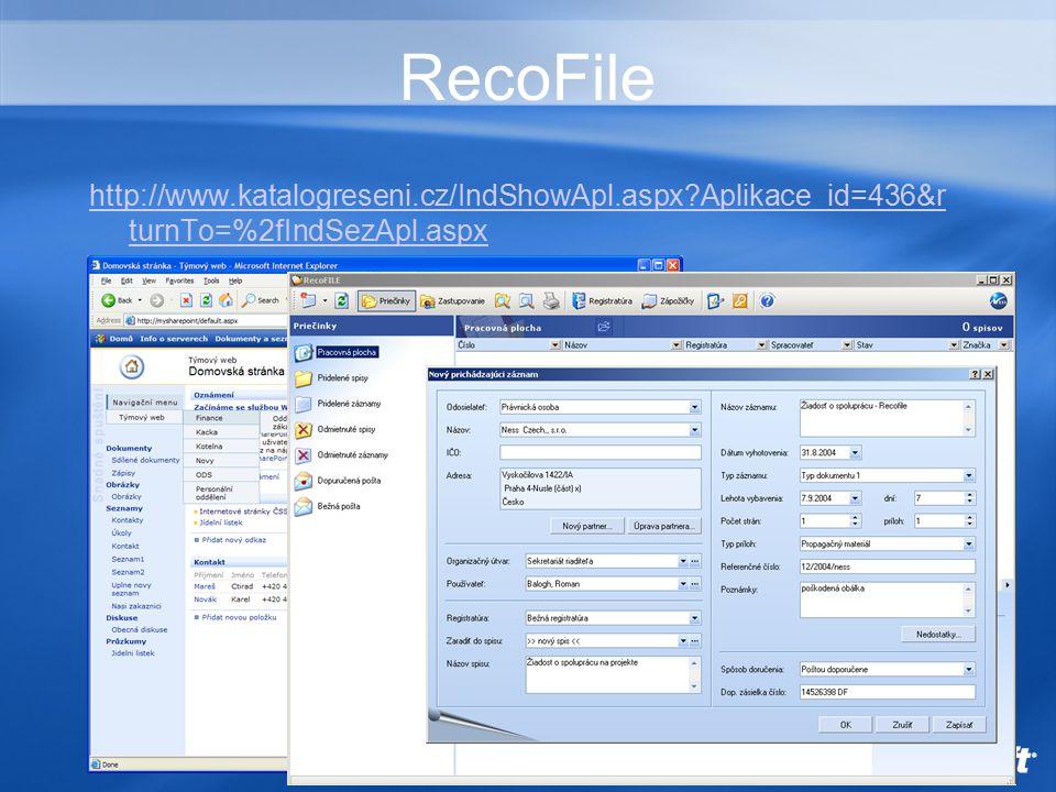 RecoFile http://www.katalogreseni.cz/IndShowApl.aspx Aplikace_id=436&r turnTo=%2fIndSezApl.aspx