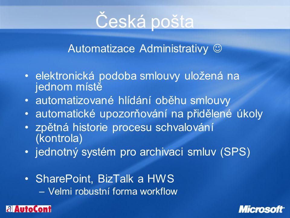 Česká pošta Automatizace Administrativy elektronická podoba smlouvy uložená na jednom místě automatizované hlídání oběhu smlouvy automatické upozorňování na přidělené úkoly zpětná historie procesu schvalování (kontrola) jednotný systém pro archivaci smluv (SPS) SharePoint, BizTalk a HWS –Velmi robustní forma workflow