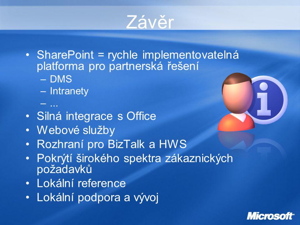 Závěr SharePoint = rychle implementovatelná platforma pro partnerská řešení –DMS –Intranety –...