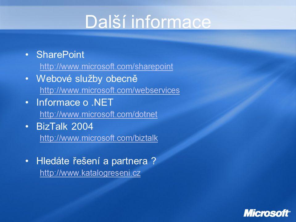 Další informace SharePoint http://www.microsoft.com/sharepoint Webové služby obecně http://www.microsoft.com/webservices Informace o.NET http://www.microsoft.com/dotnet BizTalk 2004 http://www.microsoft.com/biztalk Hledáte řešení a partnera .