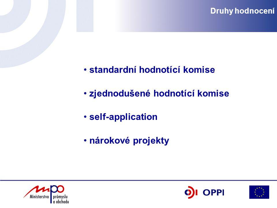 Druhy hodnocení standardní hodnotící komise zjednodušené hodnotící komise self-application nárokové projekty