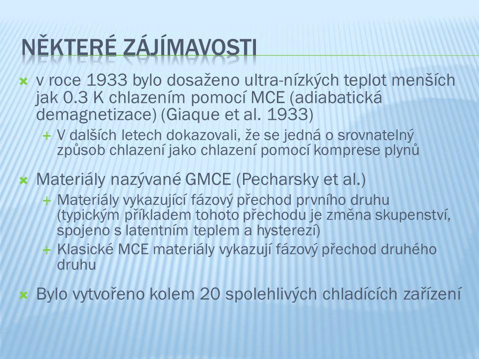  v roce 1933 bylo dosaženo ultra-nízkých teplot menších jak 0.3 K chlazením pomocí MCE (adiabatická demagnetizace) (Giaque et al.