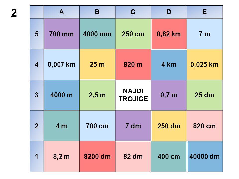 2 řešení ABCDE 5700 mm4000 mm250 cm0,82 km7 m 40,007 km25 m820 m4 km0,025 km 34000 m2,5 m NAJDI TROJICE 0,7 m25 dm 24 m700 cm7 dm250 dm820 cm 18,2 m8200 dm82 dm400 cm40000 dm