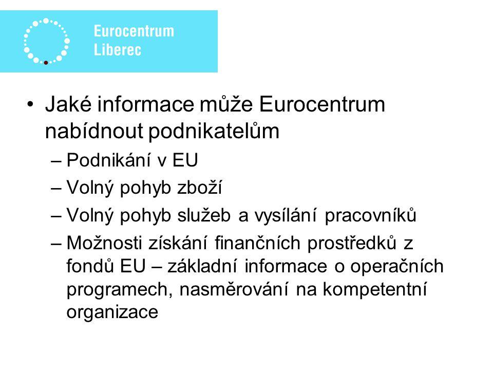 Publikace a informační materiály pro podnikatele –Finanční prostředky fondů EU v období 2007 – 2013 –Abeceda fondů Evropské unie 2007 – 2013 –Průvodce podnikatele Operačním programem podnikání a inovace –Rozvoj venkova v programovacím období 2007-2013 v kontextu reforem SZP EU –Interreg IIIA: Úspěšným projektům ani hranice nebrání –Jak podnikat ve službách na území Německa.