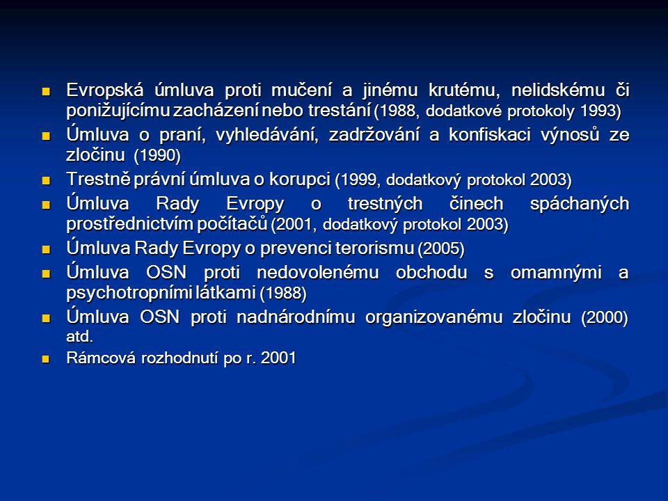 Evropská úmluva proti mučení a jinému krutému, nelidskému či ponižujícímu zacházení nebo trestání (1988, dodatkové protokoly 1993) Evropská úmluva pro
