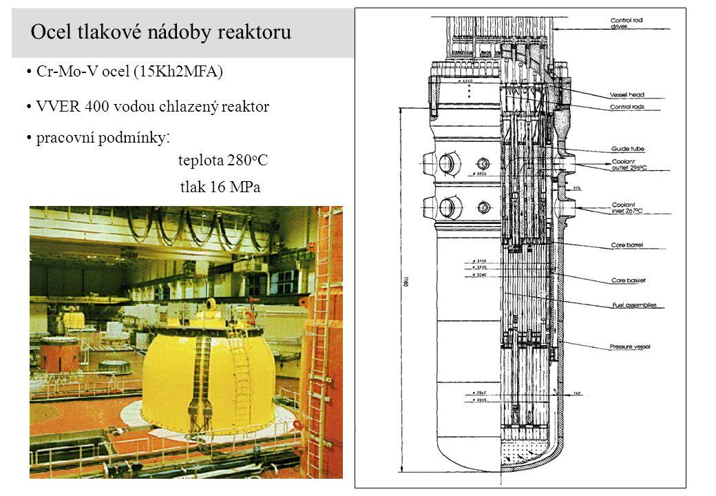 Cr-Mo-V ocel (15Kh2MFA) VVER 400 vodou chlazený reaktor teplota 280 o C tlak 16 MPa pracovní podmínky : Ocel tlakové nádoby reaktoru