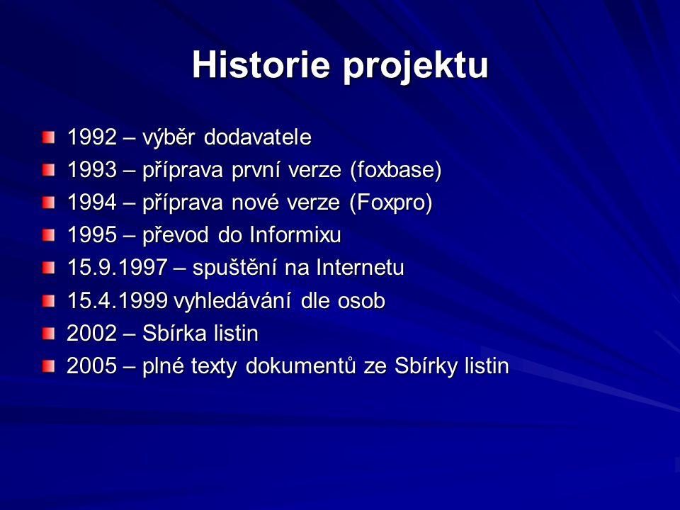 Historie projektu 1992 – výběr dodavatele 1993 – příprava první verze (foxbase) 1994 – příprava nové verze (Foxpro) 1995 – převod do Informixu 15.9.19