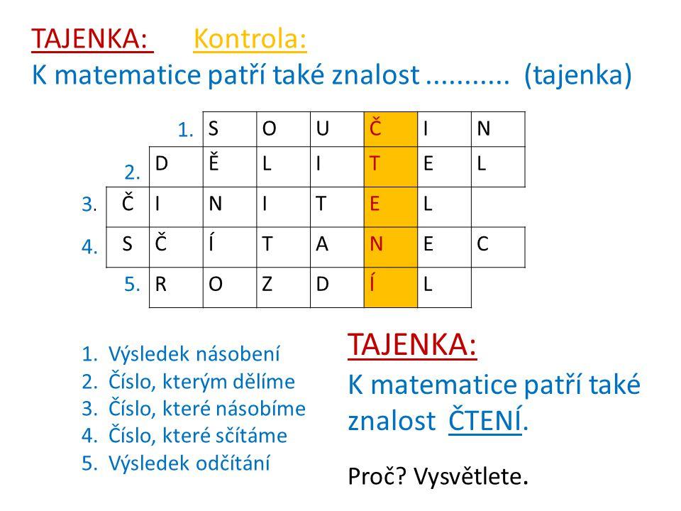 SOUČIN DĚLITEL ČINITEL SČÍTANEC ROZDÍL 1. Výsledek násobení 2.