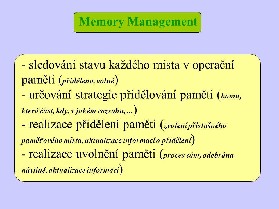 Memory Management - sledování stavu každého místa v operační paměti ( přiděleno, volné ) - určování strategie přidělování paměti ( komu, která část, k