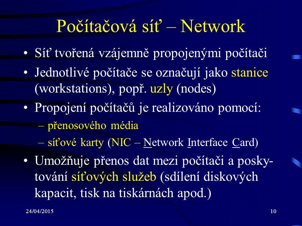 24/04/201510 Počítačová síť – Network Síť tvořená vzájemně propojenými počítači Jednotlivé počítače se označují jako stanice (workstations), popř. uzl