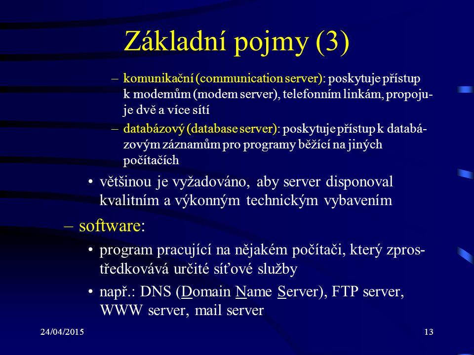 24/04/201513 Základní pojmy (3) –komunikační (communication server): poskytuje přístup k modemům (modem server), telefonním linkám, propoju- je dvě a