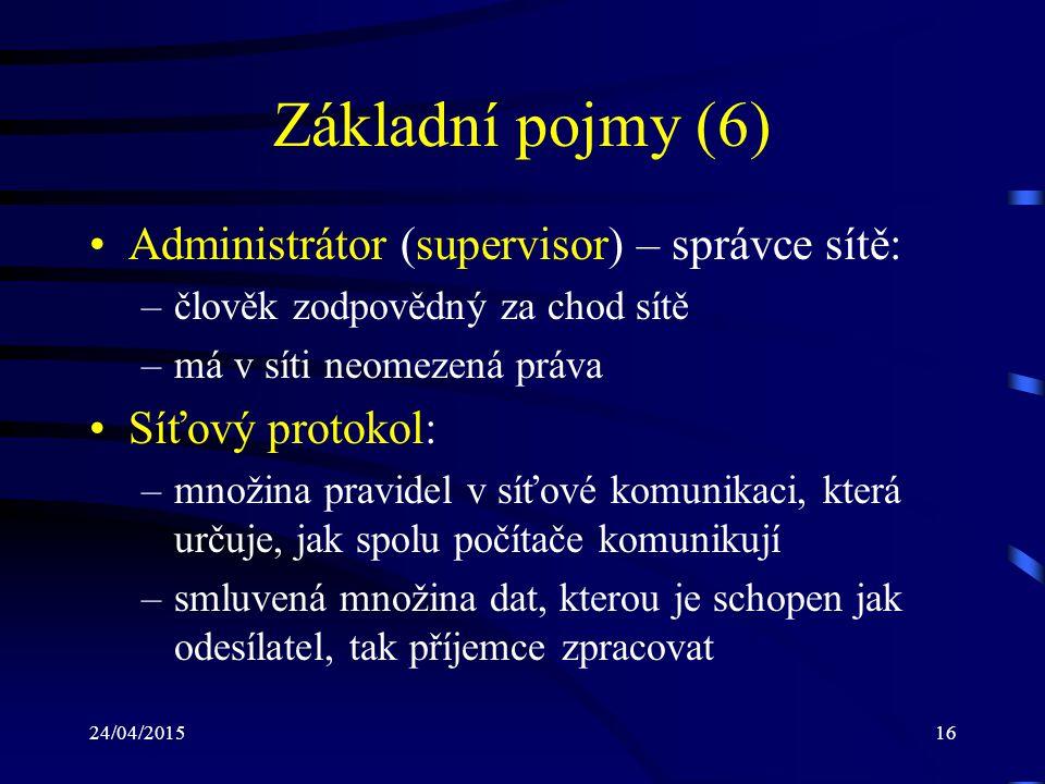 24/04/201516 Základní pojmy (6) Administrátor (supervisor) – správce sítě: –člověk zodpovědný za chod sítě –má v síti neomezená práva Síťový protokol: