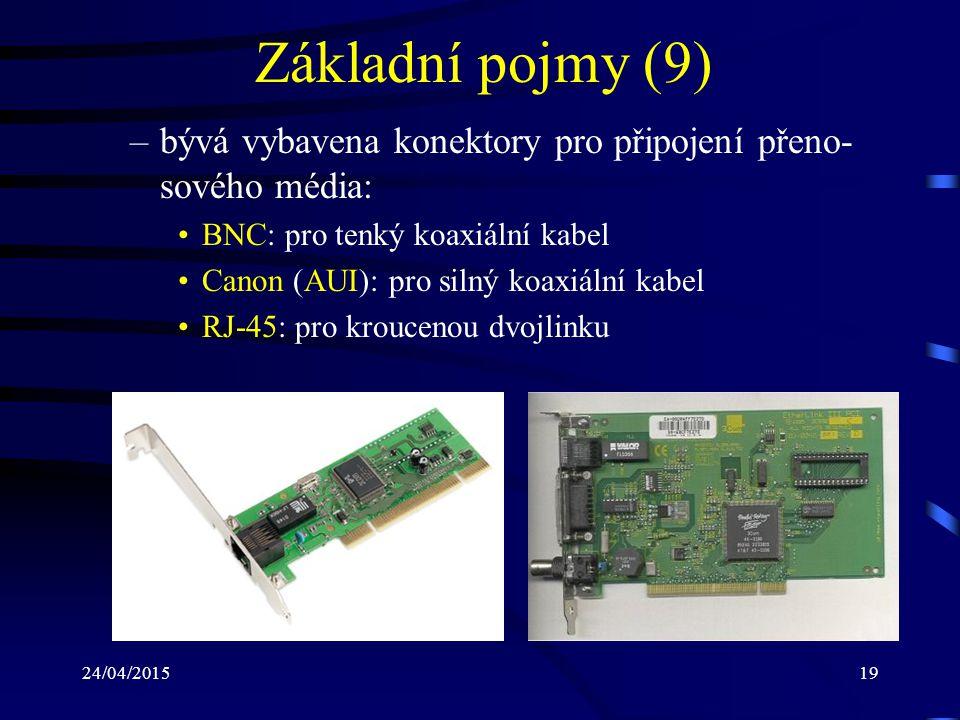24/04/201519 Základní pojmy (9) –bývá vybavena konektory pro připojení přeno- sového média: BNC: pro tenký koaxiální kabel Canon (AUI): pro silný koax
