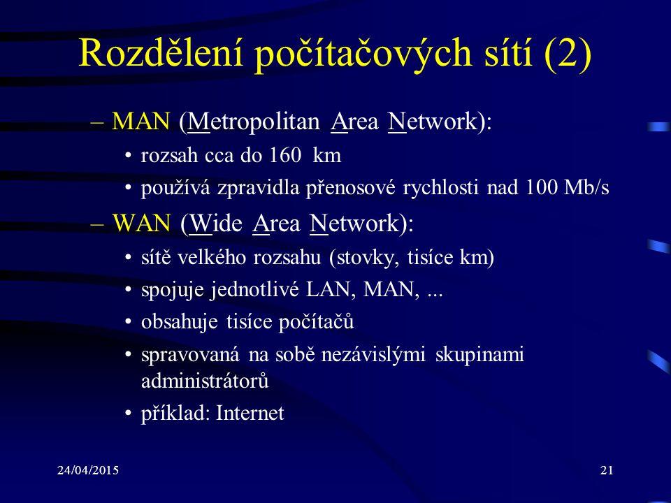 24/04/201521 Rozdělení počítačových sítí (2) –MAN (Metropolitan Area Network): rozsah cca do 160 km používá zpravidla přenosové rychlosti nad 100 Mb/s
