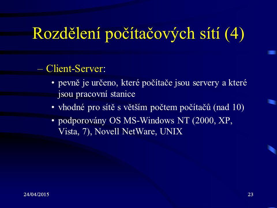 24/04/201523 Rozdělení počítačových sítí (4) –Client-Server: pevně je určeno, které počítače jsou servery a které jsou pracovní stanice vhodné pro sít