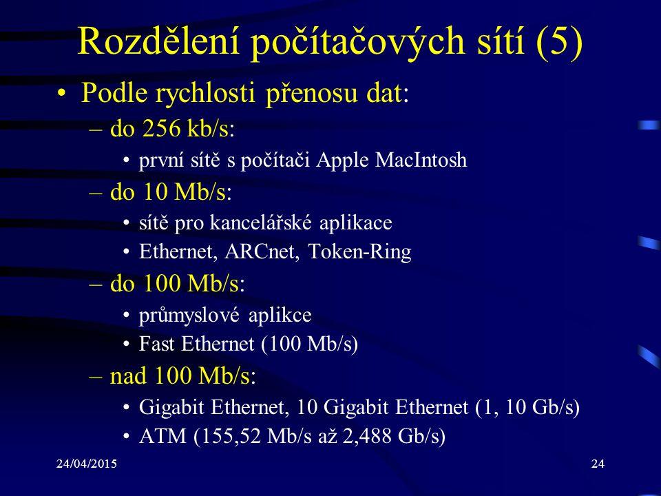 24/04/201524 Rozdělení počítačových sítí (5) Podle rychlosti přenosu dat: –do 256 kb/s: první sítě s počítači Apple MacIntosh –do 10 Mb/s: sítě pro ka