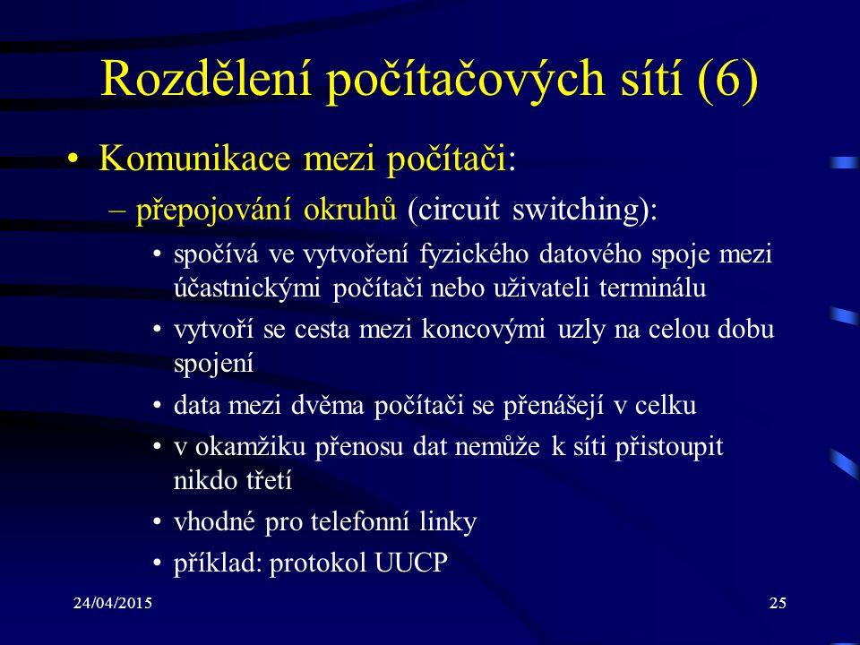 24/04/201525 Rozdělení počítačových sítí (6) Komunikace mezi počítači: –přepojování okruhů (circuit switching): spočívá ve vytvoření fyzického datovéh