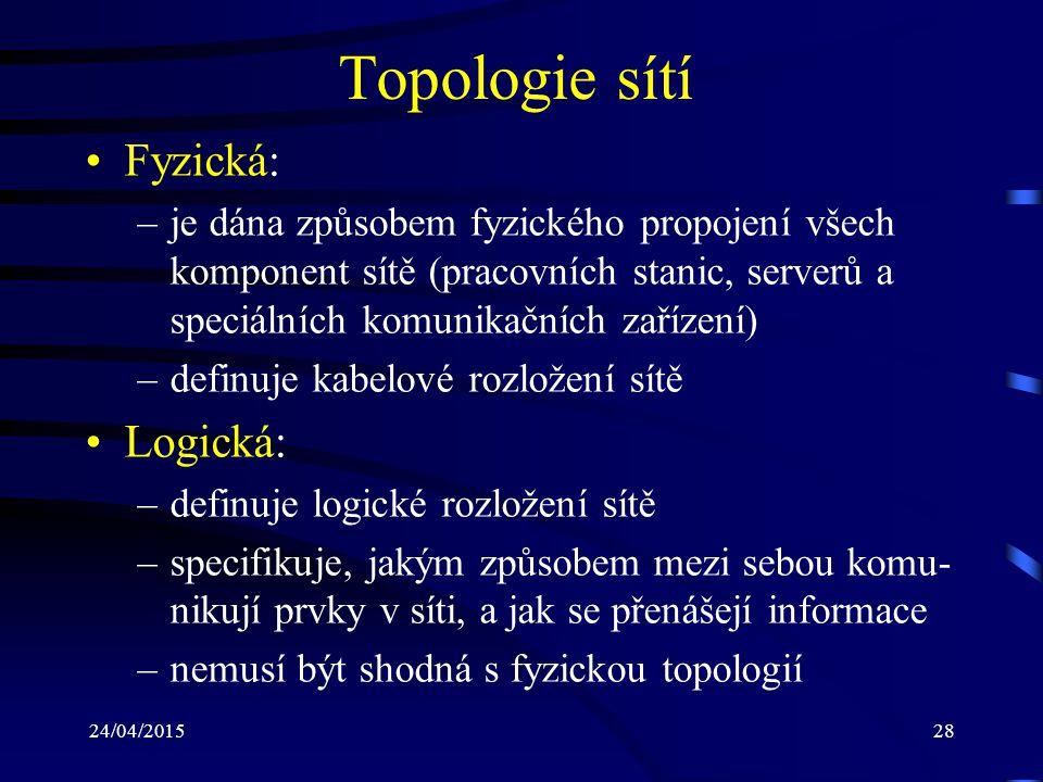 24/04/201528 Topologie sítí Fyzická: –je dána způsobem fyzického propojení všech komponent sítě (pracovních stanic, serverů a speciálních komunikačníc