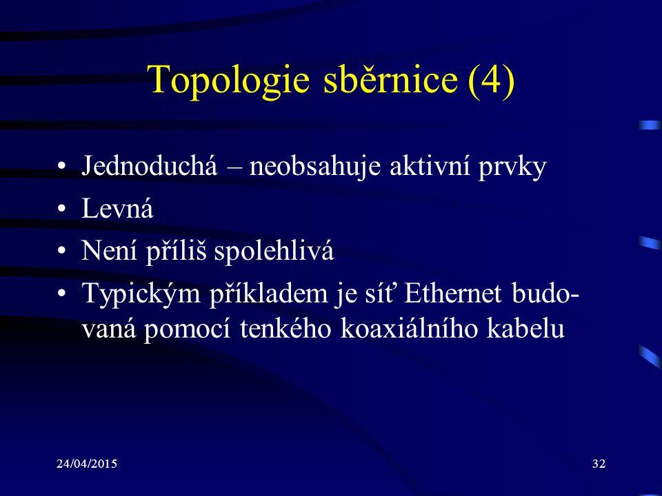 24/04/201532 Topologie sběrnice (4) Jednoduchá – neobsahuje aktivní prvky Levná Není příliš spolehlivá Typickým příkladem je síť Ethernet budo- vaná p