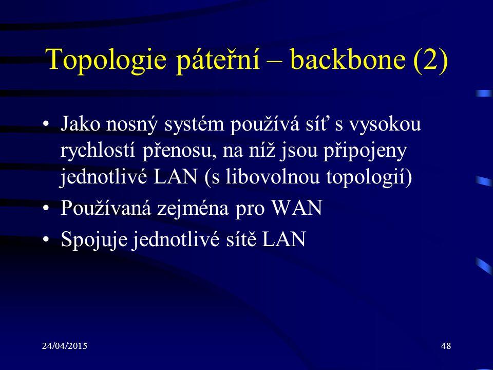 24/04/201548 Topologie páteřní – backbone (2) Jako nosný systém používá síť s vysokou rychlostí přenosu, na níž jsou připojeny jednotlivé LAN (s libov