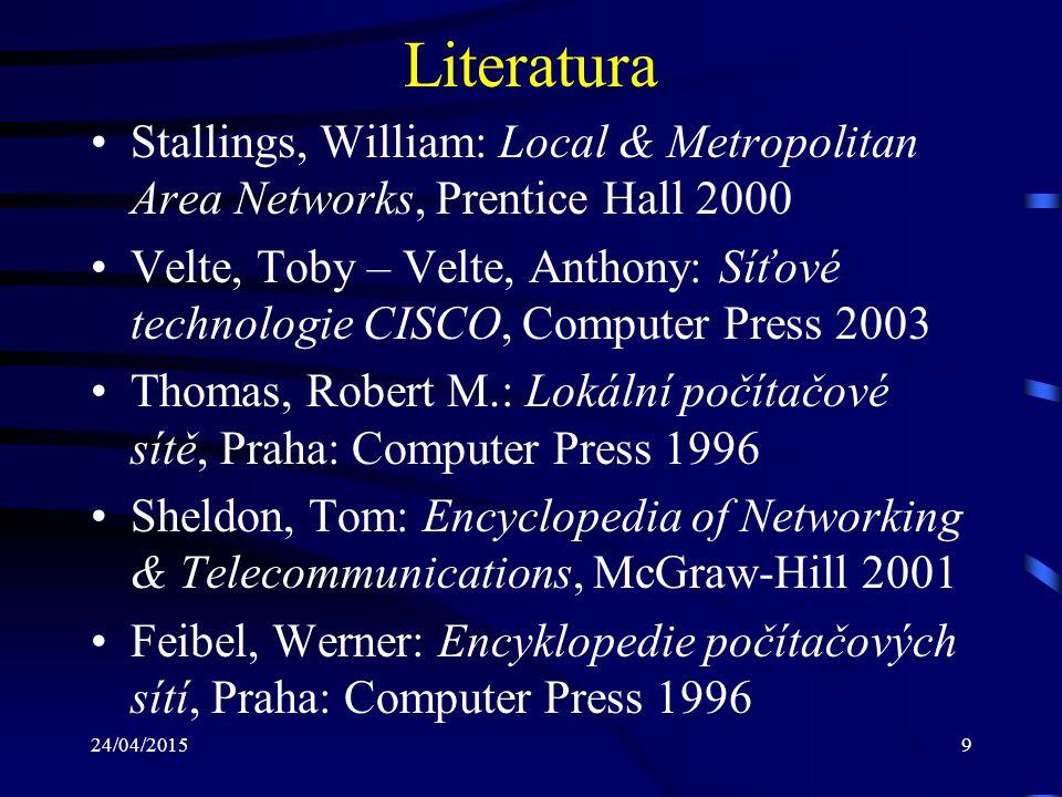 24/04/20159 Literatura Stallings, William: Local & Metropolitan Area Networks, Prentice Hall 2000 Velte, Toby – Velte, Anthony: Síťové technologie CIS