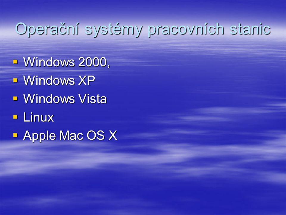Operační systémy pracovních stanic  Windows 2000,  Windows XP  Windows Vista  Linux  Apple Mac OS X