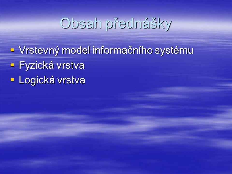 Obsah přednášky  Vrstevný model informačního systému  Fyzická vrstva  Logická vrstva