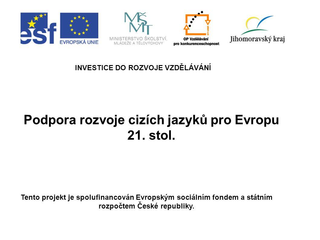 Podpora rozvoje cizích jazyků pro Evropu 21. stol. INVESTICE DO ROZVOJE VZDĚLÁVÁNÍ Tento projekt je spolufinancován Evropským sociálním fondem a státn