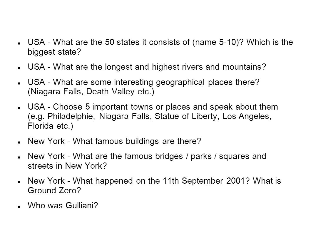USA - What are the 50 states it consists of (name 5-10).