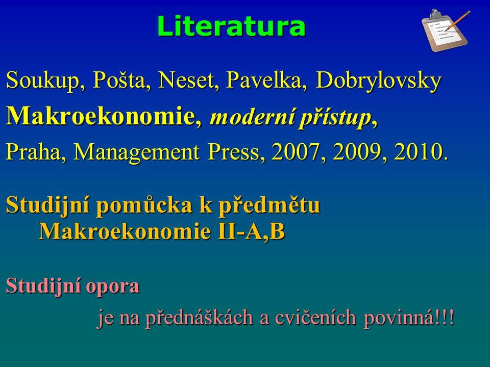 Literatura Soukup, Pošta, Neset, Pavelka, Dobrylovsky Makroekonomie, moderní přístup, Praha, Management Press, 2007, 2009, 2010. Studijní pomůcka k př